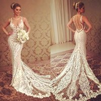 2018 Berta Mermaid Wedding Dresses Lace Applique Sheer Jewel Neckline Beading Bridal Gowns Button Covered Court Train Cheap Wedding Dress