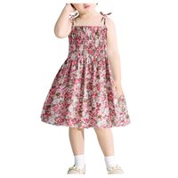 Girl's Dresses Lovely Toddler Baby Kid Girls Dress Floral Flowers Ruched Strap Summer Princess Clothes Vestidos#45