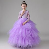 Girl's Dresses Flower Girl Dress Illusion O-Neck Sequined Princess Floor-Length Tulle Lace Full Luxury Purple Elegant Cute Kids Party Gown H