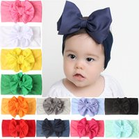 Baby Hair Band Accessories Toddler Girls Bowknot Headbands Infants Nylon Turban Hairbands M3863
