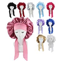 Custom wo extra large satin wrap sping Bonnets with belt band tails Silk tie bonnet For Curly Hair