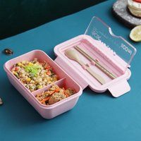 Storage Bottles & Jars Meal Box For Adults, Lunch Older Kids, Wheat Straw PP Food Microwave And Dishwasher Safe With Spoon Chopsticks
