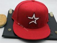 2021 Hou Full Red Color Bitted Baseball Caps Sport Flat Full Chiuso Cappelli All'aperto Moda Adatto Hip Hop Snapback Chapeau Bones Gorra