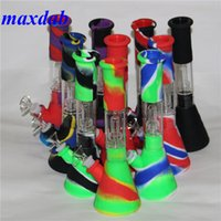 hookahs Silicone Bongs hand pipe smoking water pipes beaker Dab Rigs Percolators Perc Removable 11.42 inch Straight With Glass Bowl