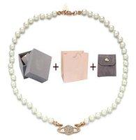 Designer With BOX fashion Crystal Satellite Planet pearl necklace Clavicle Chain Necklace Baroque choker for women party jewelry gift