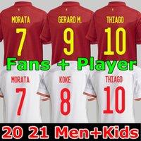 Fãs Player versão 20 21 Camisa de futebol da Espanha RODRIGO MORATA RAMOS THIAGO INIESTA TORRES camisetas de futebol masculinas e infantis conjuntos uniformes