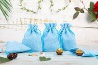 선물 포장 10 팩 7x9cm 삼 베 유리, 작은 웨딩 가방, 린넨 쥬얼리 파우치 Drawstring