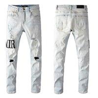 البوب ماركة فاخرة مصمم رجل جينز عارضة إلكتروني مطبوعة أبيض اللون جان انفجرت ثقوب نحيل دراجة نارية الدينيم السراويل