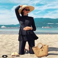Costumi da bagno da donna 3 pezzi Plus Size musulmana 2021 integrale Black Ruffle Burkini con reggiseno Imbottitura Costumi da bagno Donna Maillot de Bain Femme