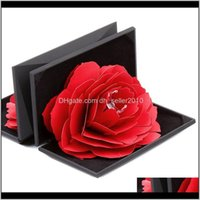 Pouches, Bags Packaging & Display Drop Delivery 2021 Rotating Rose Ring Folding Jewelry Storage Box Case For Proposal Wedding Engagement Cx17