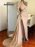 Fashion High Collar Beaded Crystals Sheath Slit Prom Dresses One Shoulder Sexy Sequins Long Formal Evening Gowns