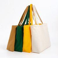 34x12x31cm 17 색 대형 빈 캔버스 쇼핑백 에코 재사용 접이식 어깨 가방 핸드백 토트 코튼 토트 백 FWD8585