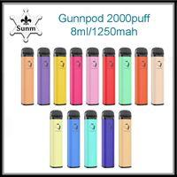 Top quality GunnPod Disposable cigarettes Device Kit 2000 Puffs 1250mAh Battery Prefilled 8ml empty Pod Stick Vape Pen vs randm switch hcow Tornado