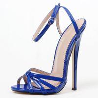 Super High 18CM Thin Heels Unisex Sandals Ankle Strap Pumps Shoes Fashion Pointed Toe Blue
