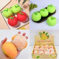 Simulação Fruta Fidget Brinquedo Squishy Apple Mango Vent Vent Ball Decompression Caqui Press Stress Aliviar Anti-Stress Hand Squeeze Brinquedos De Ventilação Para Crianças Presentes Engraçados