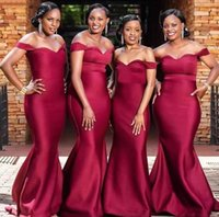 African Plus Size Dark Red Satin Mermaid Bridesmaid Dresses Off Shoulder Floor Length Wedding Party Guest Gowns Maid of Honor Gown Custom Made