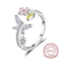 Cluster Rings LEKANI Trendy 100% 925 Sterling Silver Love Of Butterfly Pink Flower Open For Women Wedding Fine Jewelry
