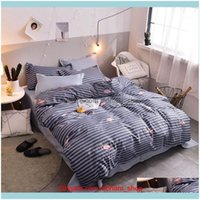 Sets Supplies Textiles Home & Gardentropical Plant Flower Pattern Kid Duvet Er Adult Child Bed Sheets And Pillowcases Comforter Bedding Set