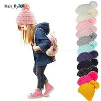 DHL Beanie Kids Kids Hats Hats Kids Chunky Cráquillo Caps de invierno Cable de invierno Punto Slouchy Gorrohie Hats Outdoor Caliente Beanie Cap 11 Colores 50pcs HS23