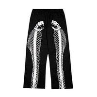 Pants Hip Hop Casual Wide Leg Trousers Men Women Elastic Waist Spliced Cargo