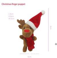 Tecknad jul tema finger marionetter Santa älg snögubbe pingvin tidig utbildning plysch leksak förälder-barn interaktion xmas barn gåva hwe10123
