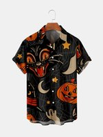 Men's Casual Shirts 2021 Summer Short Sleeve Shirt Plus Size 6 Halloween Digital Print Top