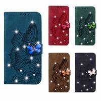 Cas de portefeuille en cuir de papillon 3D Bing Diamond 3D pour iPhone 13 Pro Max 12 Mini 11 xR xs 8 7 6 Luxe Vintage Vintage Porte-cartes Slot Flip Couvercle Retro Mentimage Fleur Pochette