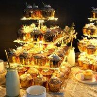 기타 축제 파티 용품 4 계층의 빛나는 케이크 스탠드 두꺼운 사각형 아크릴 LED 조명 분리형 디저트 홀더 결혼식 홈 장식