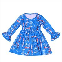 Baby Girls Fall Winter Girl Dress Boutique The Cat In Hat Printed Clothes Toddlers Blue Cartoon Long Sleeve Milksilk Wholesales