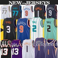 الرجال كرة السلة الفانيلة Lamelo 2 الكرة 77 دونكيتش 9 باريت إوينج 33 كرة السلة جيرسي ديفين 1 بوكر ستيف 13 ناش جديد أزرق أبيض حجم S-2XL