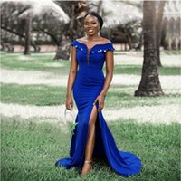Mermaid Royal Blue African Women Bridesmaid Dresses Side Slit Off Shoulder Shiny Sequin Plus Size Wedding Guest Dress Long Gown