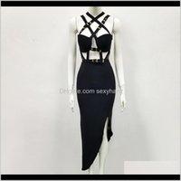 Casual Dresses Womens Kleidung Bekleidung Drop Lieferung 2021 Hohe Qualität Schwarz Open Gabel Schlüsselloch Rayon Bandage Kleid Abendparty Elegant DRES