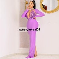 2021 Hot Pink Mermaid Evening Dresses Long Sleeves High Neck Split Beaded Sequins Sweep Train Evening Gowns Prom Dress vestido