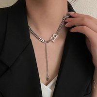 Chains Lifefontier Stainless Steel Long Chain Letter B Pendant Necklace For Women Silver Color Metal Choker Jewelry