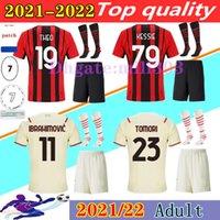 2021 2022 Milan Soccer Jersey Sets AC 21 22 Ibrahimovic Football Kits Giroud Theo Kessie Kjær Tomori R.Leaga Brahim Camisa de Futebol Kit Uniformes
