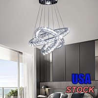 Crystal Chandelier Modern LED Ceiling Light Fixture DIY 2 3 4 Rings Hanging Pendant Adjustable Stainless Steel Cable for Dining Room Bedroom Hallway