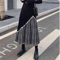 Zawfl inverno moda feminina houndstooth midi saia feminina cintura alta plissada de malha de malha preto preto saias quentes 210412