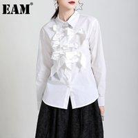 [EAM] Женщины Сраслевая асимметричная черная блузка отворота с длинным рукавом свободная подходит рубашка мода прилив весна осень 2021 1dd3888 женские блузки