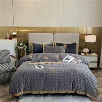 Set di biancheria da letto Inverno Plus Velvet Flanella Set Set di flanella addensato biadesivo Biancheria da letto 1.8Med Copripiumino caldo Grigio rosa Quiltcover