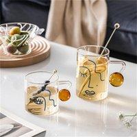 Tazas Retrato Patrón de cristal Taza Manzabrazos creativos para la leche Cerveza Cerveza Agua Fruta Jugo Frío Bebida Hogar Oficina Tazas de té tazas