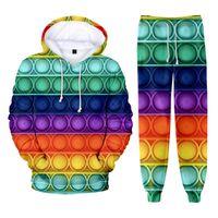 Men's Hoodies & Sweatshirts 3D Printed Rainbow Colorful 2 Piece Tracksuit Sweatshirt And Sweatpants For Men Autumn Winter Women Set Pants