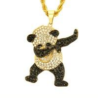 Gold Color Rhinestone Luxury Hip Hop Dancing Funny Animal Panda Pendant Iced Out Rock Hip Hop Collane per gioielli da uomo Regali