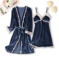 Women's Sleepwear Velvet Kimono Robe Set Women Autumn 2PCS Pyjamas Velour Nightwear Casual Sexy Intimate Lingerie Home Dressing Gown