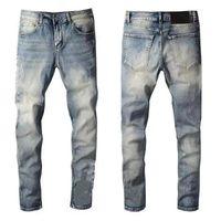 Men's jeans designerjeans high quality denim luxury motorcycle hole retro low waist tear fold suture dunk new golf men'swear