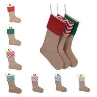American Christmas Decorations 12*18 Inches Christmas Stockings Gift Bag Imitation Hemp Compound Cloth Red Dot Gift Bag Candy Bag