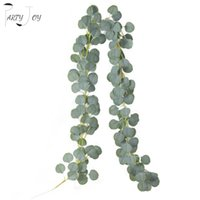Fleurs décoratives Couronnes Partie Joy 1.8m Artificial Eucalyptus Guand Faux de lierre Vigne Vigne Verre Verre Couronne de Plantes Pour Salon Murale Jardin