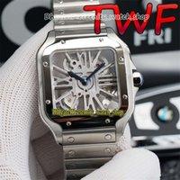 Melhor versão TWF 0015 033 Skeleton Dial Swiss 4S20 Modificar movimento de quartzo 0018 mens relógio 316L Caso de aço pulseira relógios 0007 yoomi