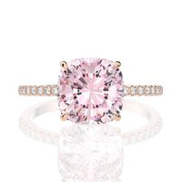 Cluster Rings 18K Rose Gold Color 10*10MM Women Fine Jewelry Solid 925 Sterling Silver Natural Pink Quartz Diamond Wedding Gifts