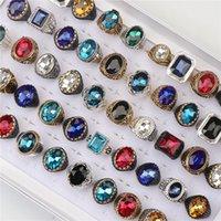 Homens Vintage Multicolor Imitação Gemstone De Vidro Anéis Para As Mulheres Mistura Glod Silve Preto Cores Moda Jóias