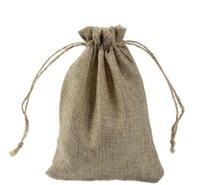 Bolsas, Pantalla de embalaje Joyería7x9cm 9x12cm 10x15cm 13x18cm Color original Mini yute bolsa de lino Cáñamo Regalo de joyería Bolsas de lucha para